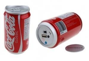 Imitace plechovky Coca-Cola se skrytou kamerou, výstup na USB a spínač záznamu