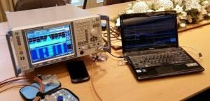 Prověrka RF - radiofrekvenčního spektra REAL TIME analyzérem Rohde & Schwarz.