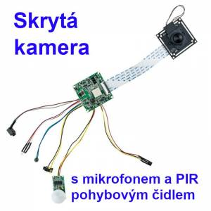 Skrytá kamera s mikrofonem a PIR čidlem.